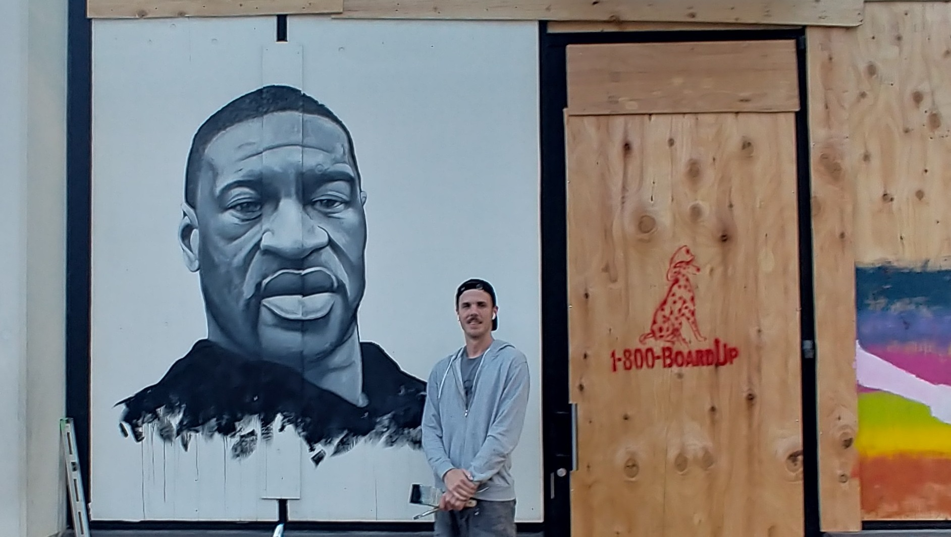 In University City, Artists Spend Hours Painting Portrait of George Floyd